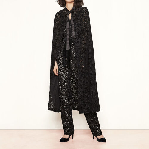 Flocked velvet cape : Coats & Jackets color Black 210