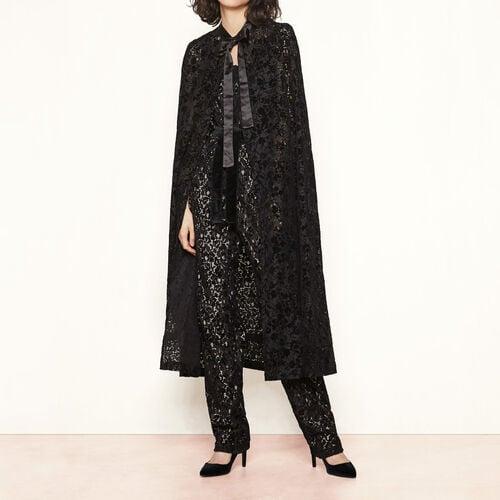 Cape en velours floqué : Manteaux & Blousons couleur Black