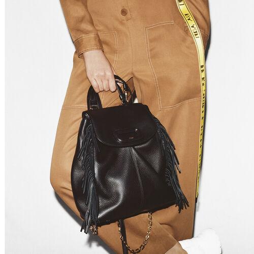 Sac à dos M en cuir avec chaine : M Back color Black