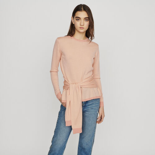 Thin sweater with tie : Knitwear color Coral