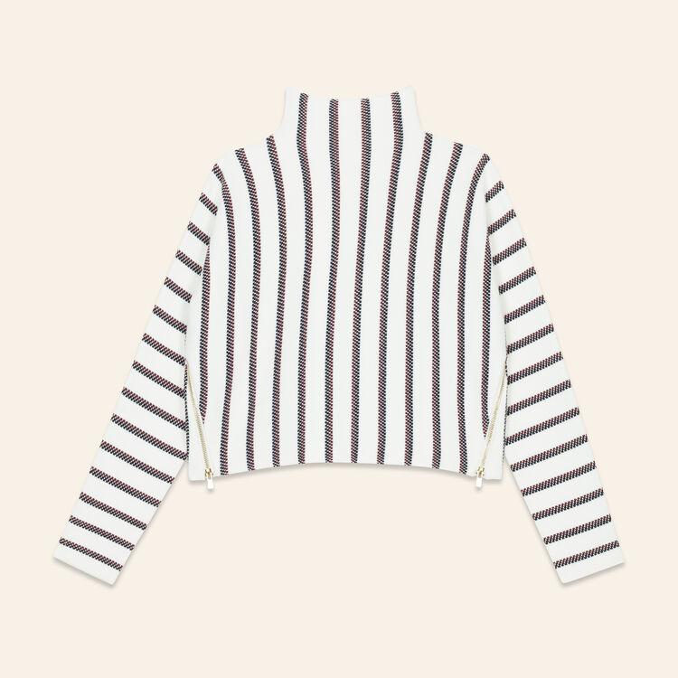 Pull court en maille bloquée : Pulls & Cardigans couleur ECRU
