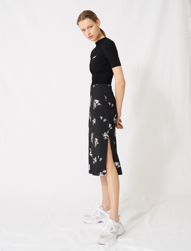 Midi skirt in embroidered crêpe - All the collection - MAJE