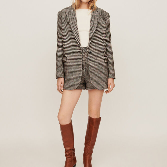 Checkered jacket-style coat -  - MAJE