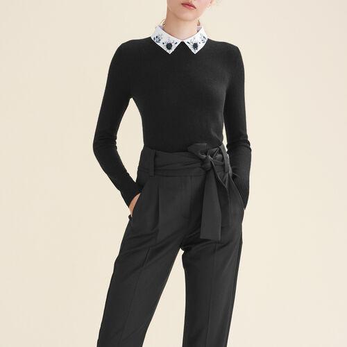 Pull avec col chemise et strass : Pulls & Cardigans couleur Black
