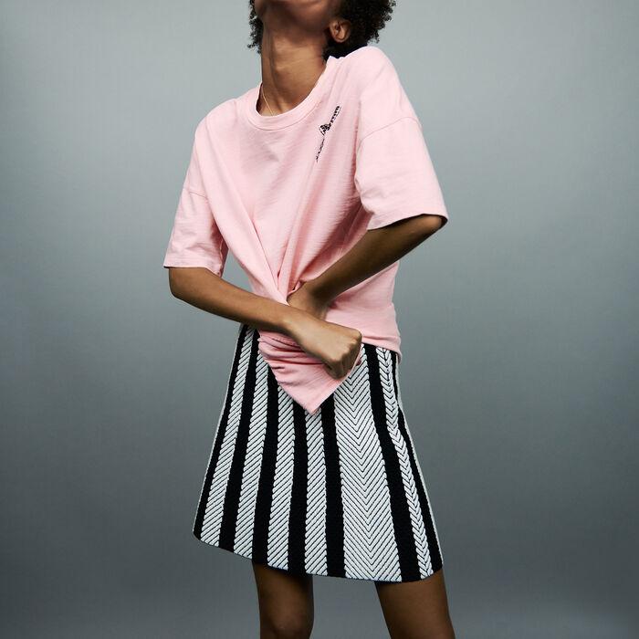 Tee-shirt oversize avec broderie : T-Shirts couleur Rose