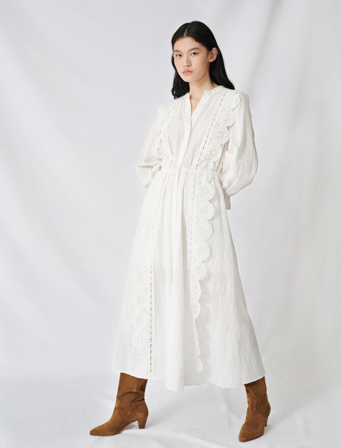 Robe en coton à broderies anglaises - Robes - MAJE