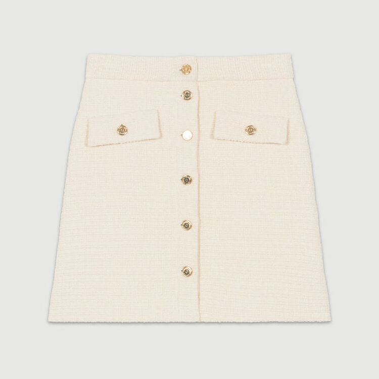 Jupe trapèze en tweed : Jupes & Shorts couleur ECRU