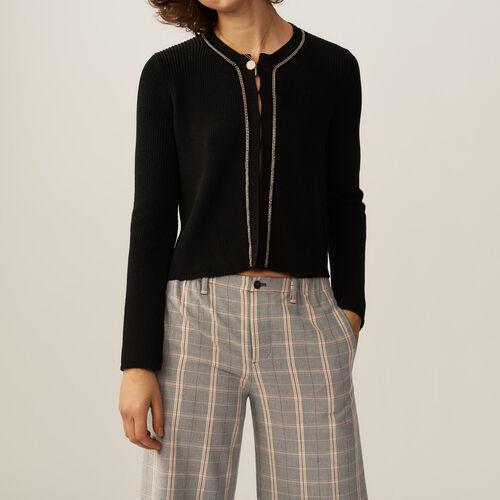 Fine-knit cotton blend vest : Sweaters & Cardigans color Black 210