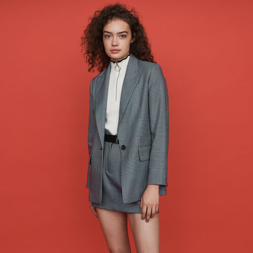 Straight-cut plaid jacket : Winter collection color Blue