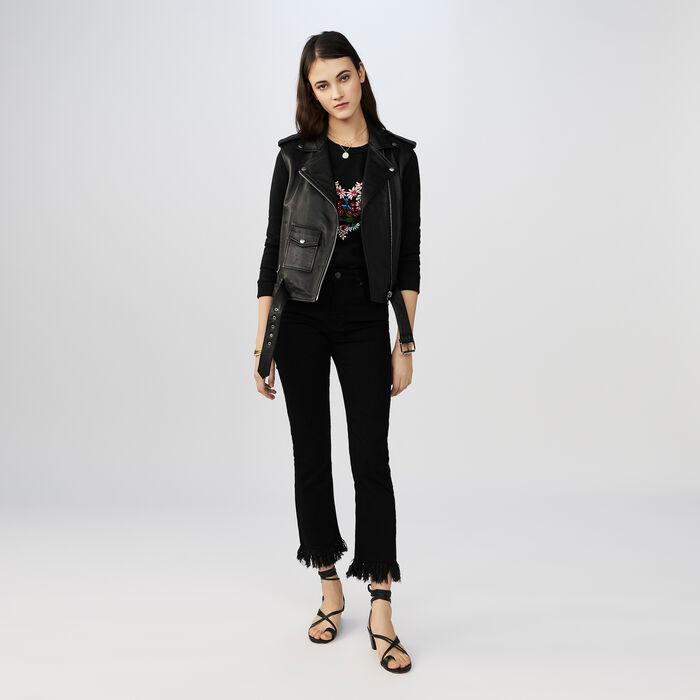 Jean 7/8 au bas frangé : Jeans couleur Black