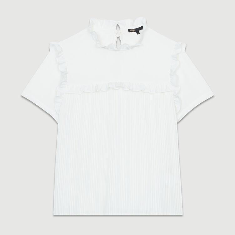 Blouse plissée à volants : Tops couleur Blanc