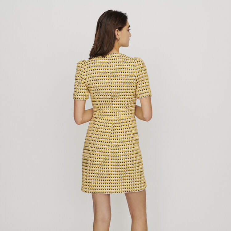 Short dress in tweed and lurex : Dresses color Yellow