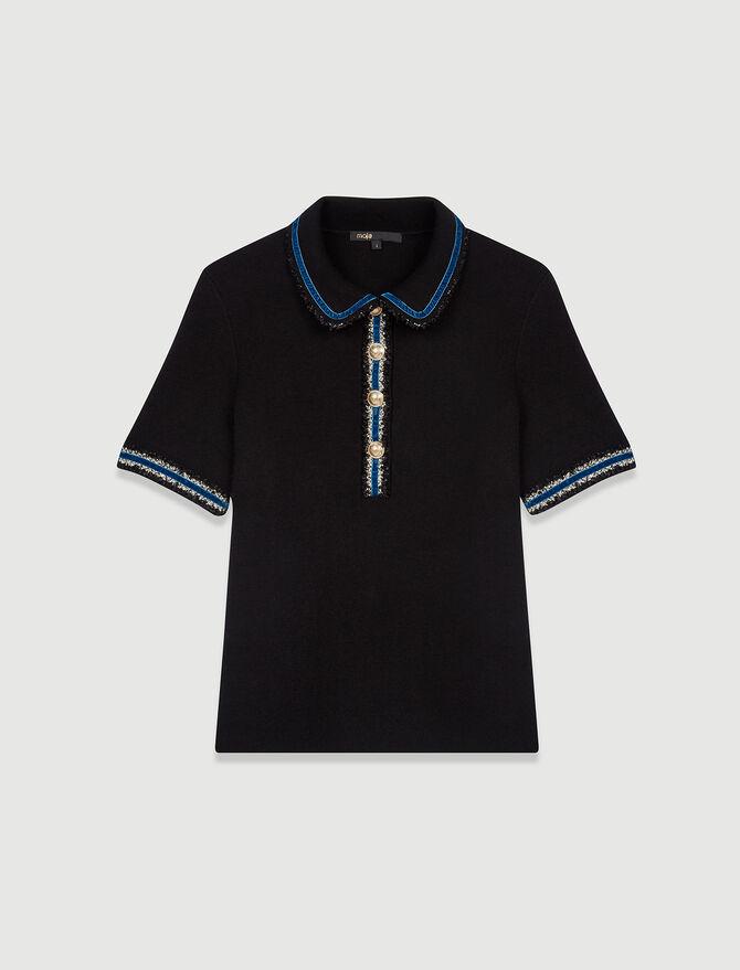 Polo en maille bloquée à détails velours - T-Shirts - MAJE