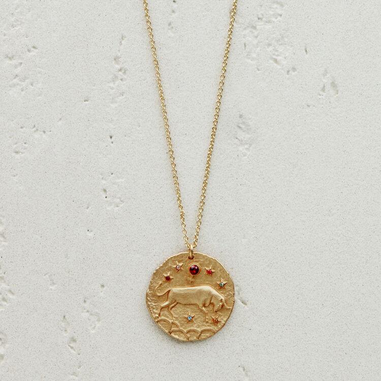 Collier Taureau signe du zodiaque : Médailles couleur OR
