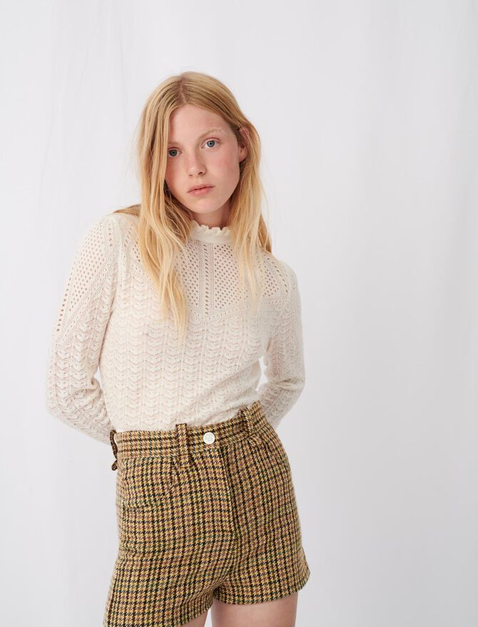 Knitted sweater with ruffles -  - MAJE
