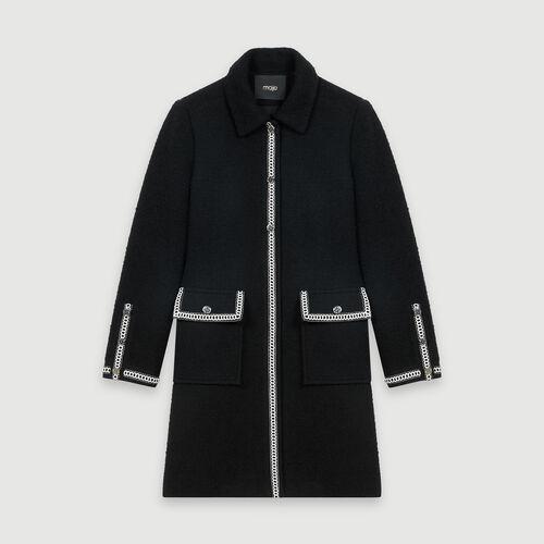 Manteau façon tweed contrasté : Manteaux & Blousons couleur Noir