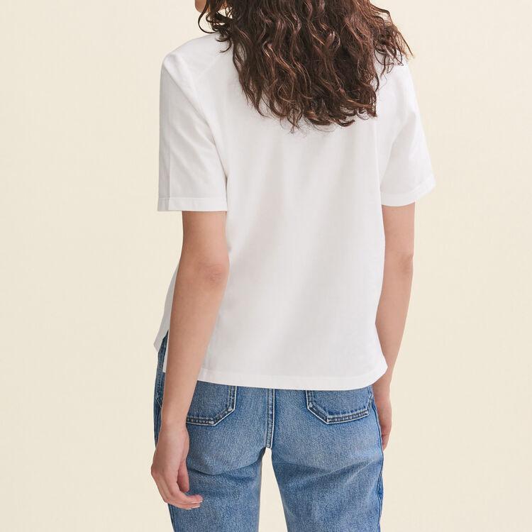 Tee-shirt en coton avec broderie : T-shirts couleur ECRU