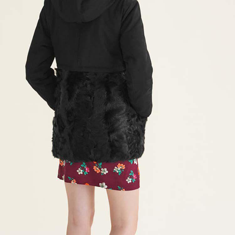 Parka en coton et agneau bouclé : Manteaux couleur Black