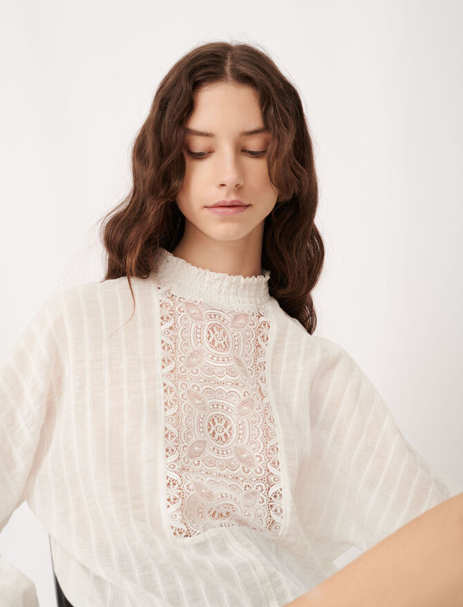Cotton, lurex and lace top - Tops & Shirts - MAJE