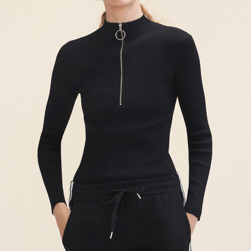 Pull fin en maille stretch avec zip : Maille couleur Black