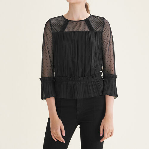 Flowing pleated top with dotted Swiss : See all color Black 210