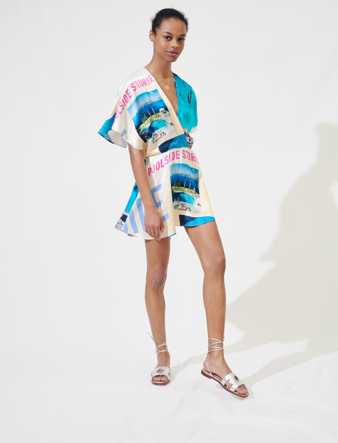 Printed satin playsuit - Jumpshort & Jumpsuits - MAJE