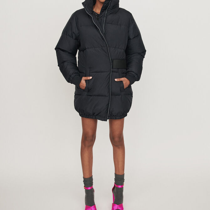 Long hooded puffer coat - Coats - MAJE
