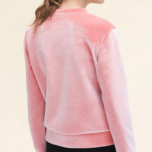 Sweat droit en velours. : Pulls & Cardigans couleur Rose