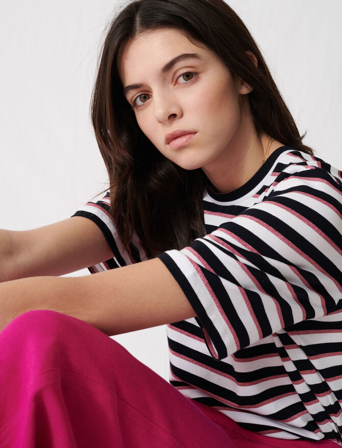 T-shirt with tricoloured stripes -  - MAJE