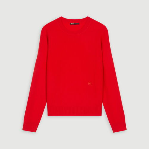 Cashmere jewel-neck sweater : Pullovers & Cardigans color Red
