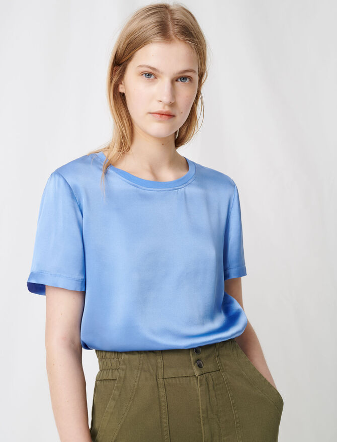 Material mix cotton and silk T-shirt -  - MAJE