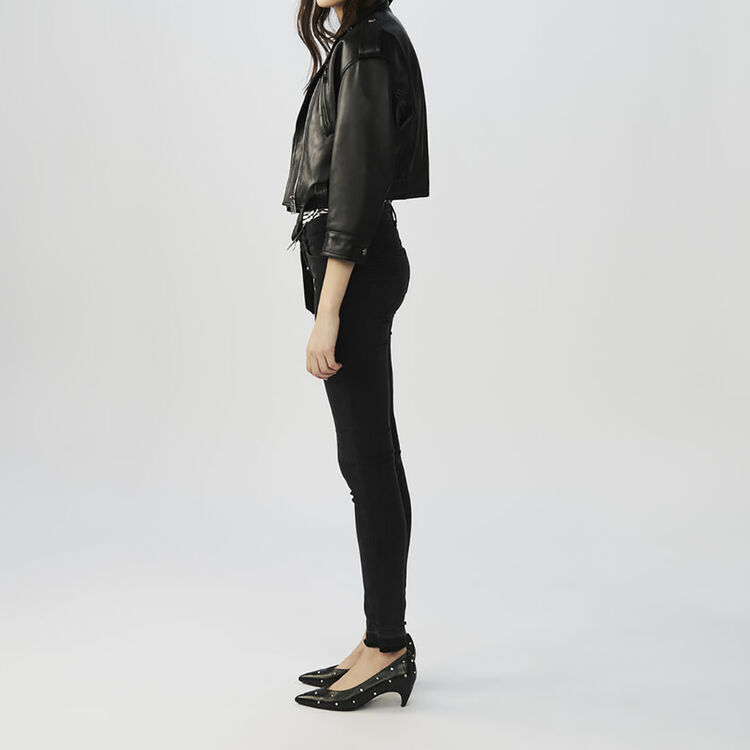 Jean skinny en coton Stretch : Pantalons couleur Anthracite