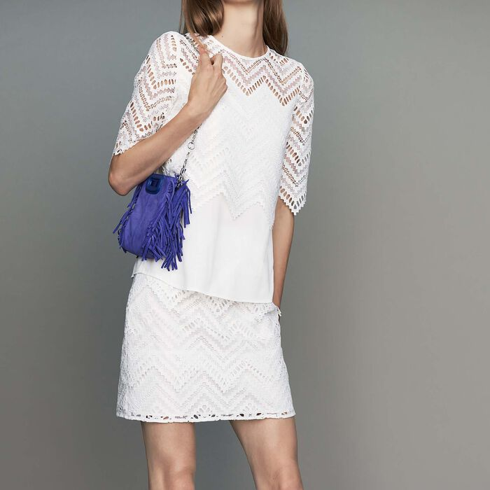 Top en crêpe et dentelle : Nouvelle Collection couleur Blanc