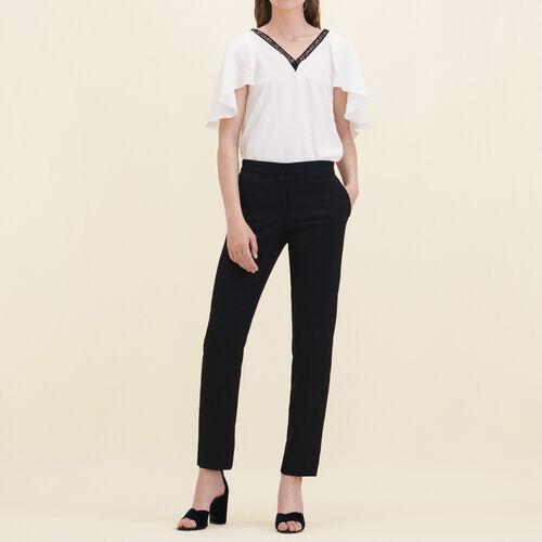 Pantalon droit en crêpe : Pantalons & Jeans couleur Black