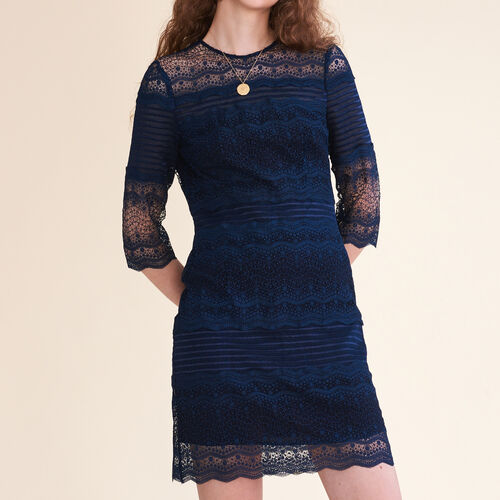 Two-tone lace dress : Dresses color Navy