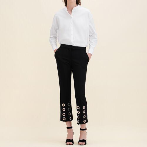 Pantalon droit avec œillets en crêpe - Pantalons - MAJE
