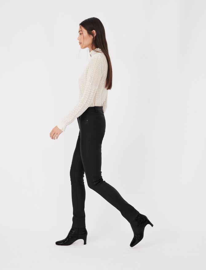 Pantalon cigarette en cuir d'agneau - Trousers & Jeans - MAJE