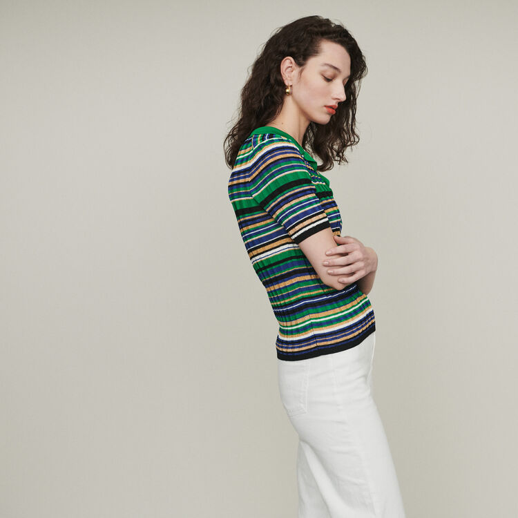 Striped knit polo : Pullovers & Cardigans color Multico