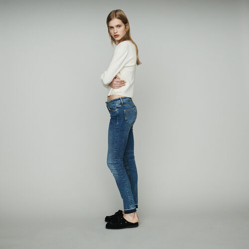 Jean slim en coton stretch : Jeans couleur Denim