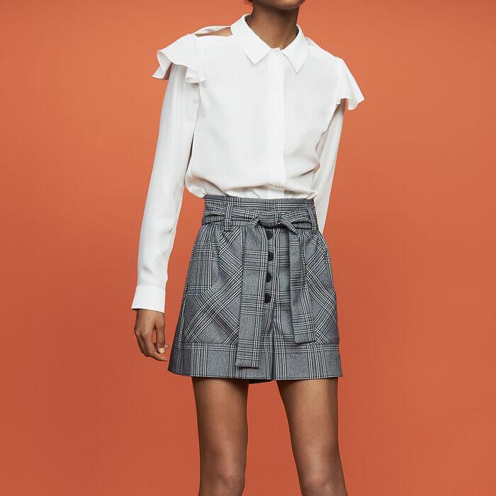 Chemisier en soie volanté : Chemises couleur Blanc