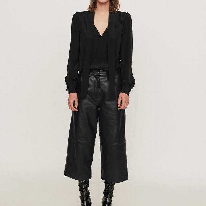 Pantalon façon bermuda en cuir - Vente privée personnel 20 - MAJE