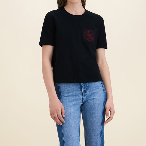 Tee-shirt en coton : Remises couleur Black