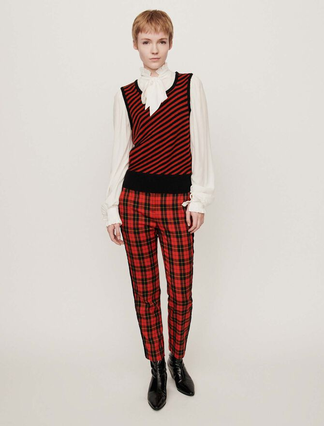2-in-1 shirt with striped sweater - Knitwear - MAJE