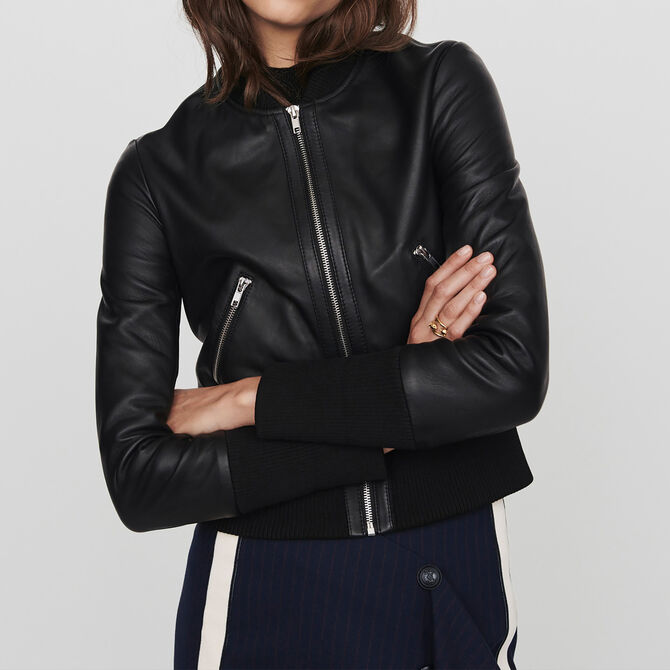 Leather jacket with rib-knit trim - See all - MAJE