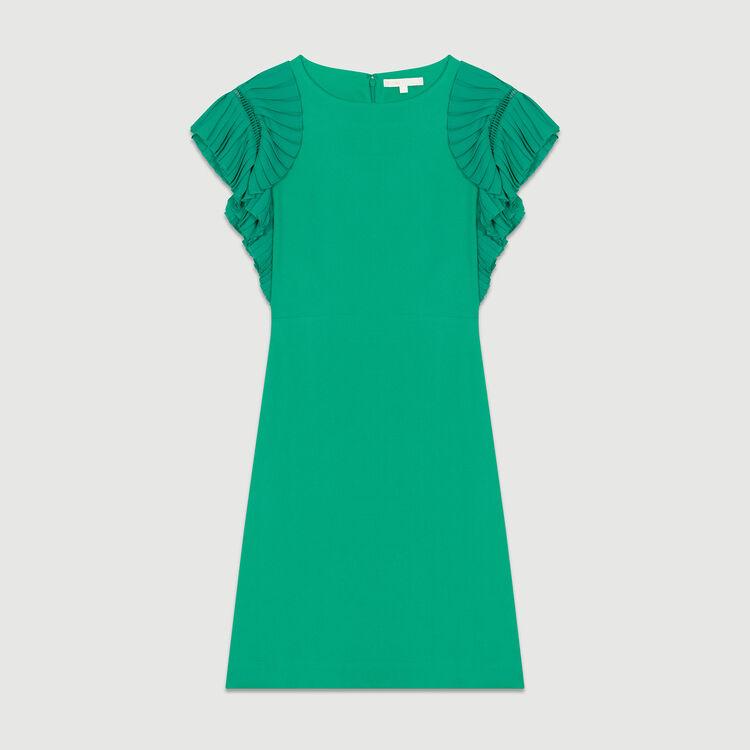 Robe droite avec manches plissées : Robes couleur VERT
