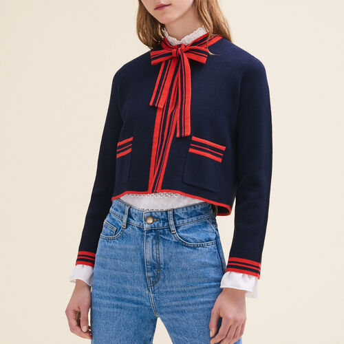 Short two-tone cardigan : Sweaters & Cardigans color Navy