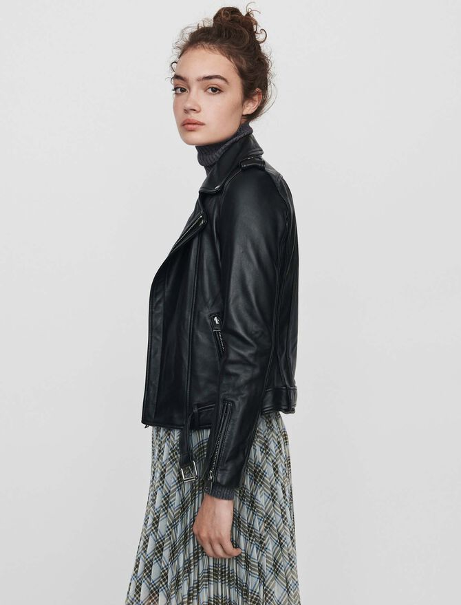 Leather biker jacket and belt -  - MAJE