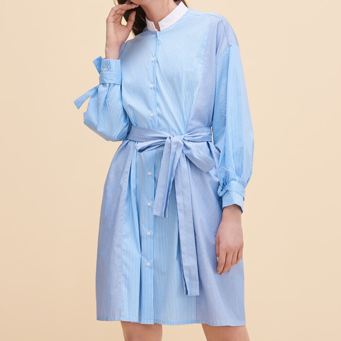 Robe chemise à rayures : Robes couleur Bleu