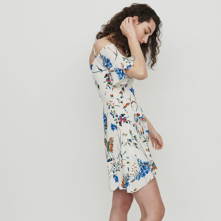 Short printed dress with bare shoulders : Dresses color Print