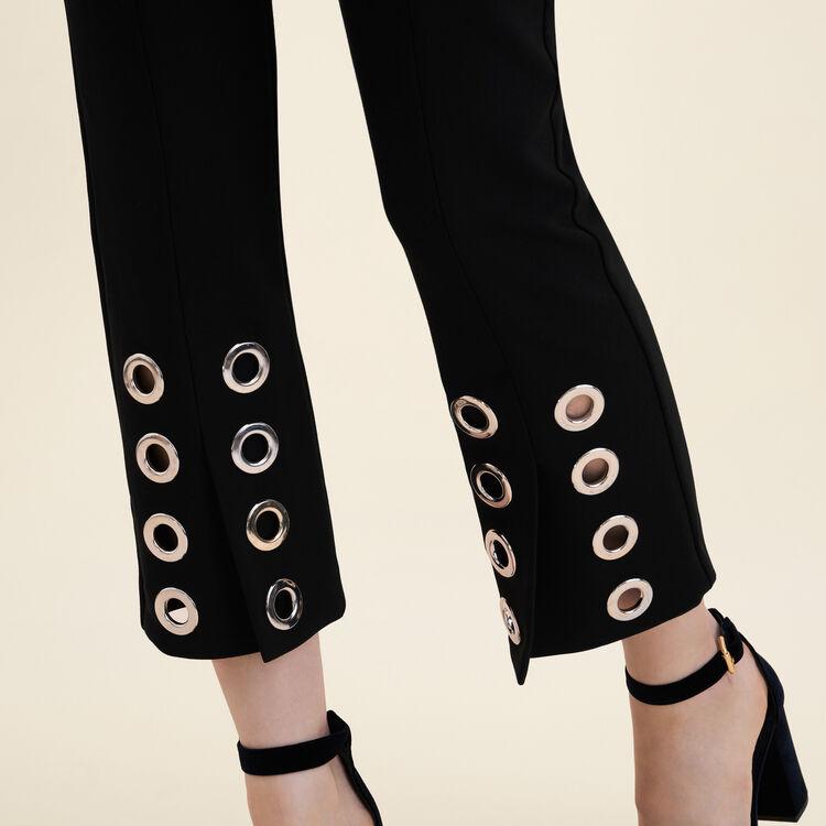 Pantalon droit avec œillets en crêpe : Pantalons & Jeans couleur Black
